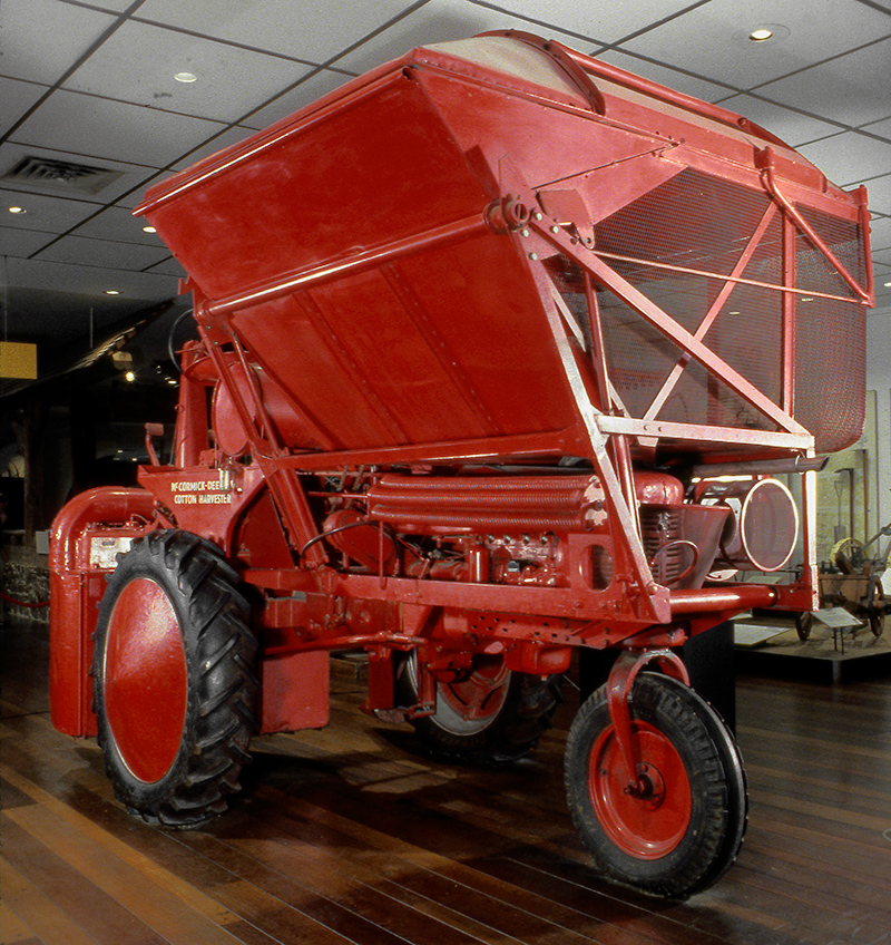 McCormick-Deering cotton harvester with Farmall H tractor